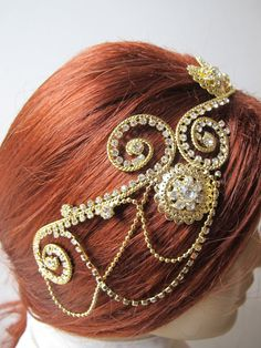 Golden Rhinestone Beaded  Bridal Tiara Head band Greek by gebridal, $48.00