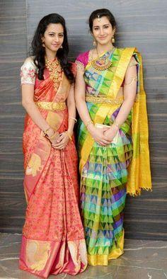 Kanchipuram silk sari with contrast sari blouse. Indian Silk Sarees, Indian Beauty Saree, Indian Dresses, Indian Outfits, Hindu Bride, Indian Bridal Wear, Elegant Saree, Saree Dress, Sari Blouse
