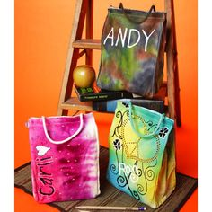 Tie dye lunch sacks #tiedye and it says Andy  :)