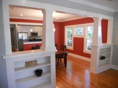 """Shelves on knee wall"""" """"Tapered Interior Columns, Craftsman Bungalow Remodel. Dining room color: """"Salsa Red""""""""""""interior columns/bookcases for transition between LR and open kitchen and dining""""""""Craftsman interior trim""""""""Interior Craftsman Columns"""" Email   Embed on blog       »"""