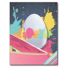 Easter Egg With Cute Designs Postcards