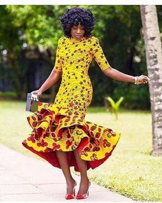 Get this look/ Yellow African Print Dress/African Clothing/African Dress For Women/African Fabric Dress/African Fashion/African Midi Dress/Ankara Dress. African Dresses For Women, African Print Dresses, African Attire, African Fashion Dresses, African Wear, African Women, African Prints, African Fabric, African Style