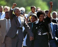 The image of Nelson Mandela emerging from prison after spending nearly three decades in apartheid jails is a defining moment in the history of South Africa and an enduring symbol of the struggle for equality the world over. Nelson Mandela, Winnie Mandela, First Black President, Current President, Political Prisoners, Black Presidents, Apartheid, Major Events, Centenario