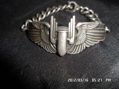 WWII USAF Gunners badge converted to a sweethearts bracelet.  $125.00