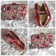 Custom Crystal Rhinestone and Pearl Designed Wedding Clutch Handbag RUSH ORDER