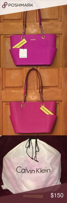 BNWT Calvin Klein Magenta Saffiano Leather Tote BNWT Calvin Klein Magenta Saffiano Leather Tote...All Specs Are In The Last Photo. Regular Price $178...Price Firm! Calvin Klein Bags Totes