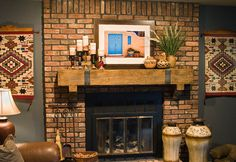 classic decoration design in fireplace mantel ideas brick wall accent wooden shelving with traditional candlesticks and flowers vase: over m...
