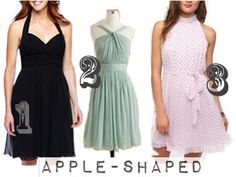 dresses for apple shape.  Shows off the shoulders...which are generally a feature of the apple shape body type.   Fitted through waist...that helps to define the waist of the apple shape because she may not have a very defined waist.