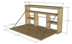 More Like Home: DIY Desk Series #9 - Fold-down Wall Desk Wall Mounted Desk, Wall Desk, Space Saving Furniture, Diy Furniture, Furniture Dolly, Furniture Outlet, Murphy Desk, Fold Down Desk, Drop Down Desk