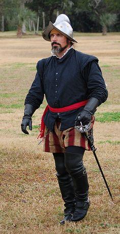 Another example of a conquistador; traveling the globe for glory & riches! Traje De Soldado, Soldado Español, Uniformes Militares, Tropas, Soldados, Armaduras, Conquista De America, Tercios Españoles, Edad Moderna