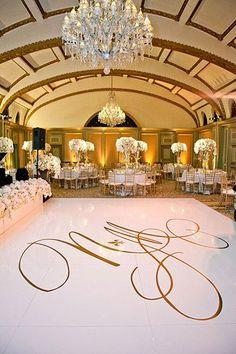 "White Dance Floor with Gold Monogram - Glam Wedding decor Such A Setting ""Oh' My Dearest Kidoz' + Fab 'Future Trendy Wedding, Elegant Wedding, Perfect Wedding, Dream Wedding, Wedding Day, Wedding Gold, Wedding White, Budget Wedding, Church Wedding"