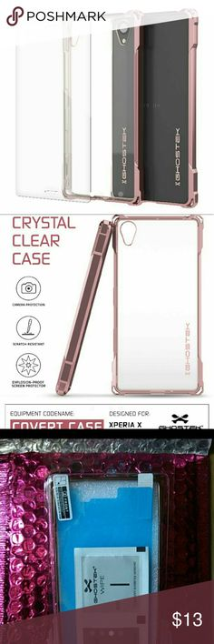 Sony Xperia X Case by Ghostek in Peach I ordered a case from Punkcase.com a couple weeks ago. They sent me the case I wanted but the wrong model. I got a Sony Xperia X case instead.   About the Case: It's made by Ghostek and it's the Covert design. It's in the color Peach with a metallic finish and has a clear TPU back. Protective, modern, cute design! It comes with an explosion proof screen protector and cleansing wipes for application. Selling for $12! FedEx 100% guaranteed shipping…
