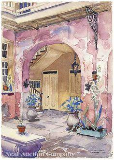 "Morris Henry Hobbs (American/New Orleans, 1892-1967), ""French Quarter Patio"", 1938"