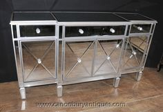 - Stunning art deco style mirrored sideboard or server of breakfront form<BR> - glam up your space with something like this put a pretty Round mirror above Mirrored Sideboard, Mirrored Furniture, Art Deco Mirror, Light And Space, Modern Desk, Art Deco Design, Contemporary Interior, Art Deco Fashion, Living Room Decor