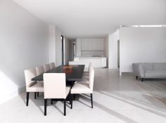 Townhouses That Look Like Separate Houses - Design Milk Amazing Architecture, Architecture Design, Mission House, White Tiles, Prefab, Minimalist Home, Cladding, Dining Bench, Dining Rooms