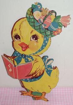 Vintage Easter Chick Die Cut by NatKatStudio at Etsy, $8.00