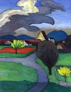 Gabriele Munter, Bäumende Wolke über der Burg, Murnau on ArtStack #gabriele-munter #art