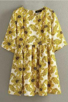 LUCLUC Yellow Daisy Floral Short Sleeve Dress