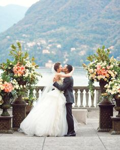 Chrissy and John's first kiss as man and wife was worth the wait; the pair weren't even distracted by the villa's astounding view of Lake Como.