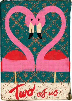 Valentine Love is in the Air Valentine Love, Valentines, Illustrations, Illustration Art, Playing With Numbers, Collages, Images Vintage, Vintage Ads, Pink Flamingos