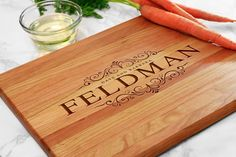 Engraved Cutting Board Personalized - with First, Last Name & Date, Custom Cutting Board, Personalized Cutting Board, Unique Gift (GB006)