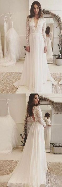 V-Neck Long Sleeves Backless Ivory Chiffon Wedding Dress with Lace WD153 #weddings #wedding #dress #weddingdress #pgmdress #chiffon
