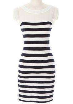 Black White Striped Contrast White Chiffon Bodycon Dress US$22.62