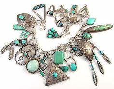 Vintage Navajo & Zuni Loaded Sterling Silver Turquoise 21 Charm Bracelet J LX