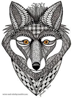 "Zentangle-Inspired Art made as a gift, using Ben Kwok's free ""Fox"" pattern available in the Ornation Creation FB group. A ..."