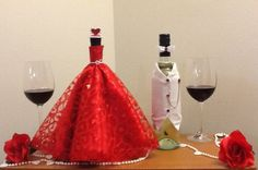 Wine bottle dresses by OnceUponcraftdesigns on Etsy