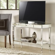 Camille Glam Mirrored TV Stand Console Table With Drawer By Inspire Q  (Chrome), Silver