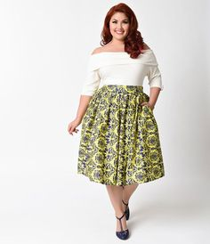 a9014f168d6 Unique Vintage Plus Size Yellow   Navy Damask High Waist Swing Skirt