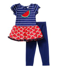 Look what I found on #zulily! Navy & Red Watermelon Tunic & Leggings - Toddler & Girls #zulilyfinds