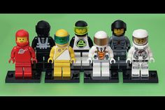 """""""Front row, left to right: Classic Space, Futuron, Mars Mission, Collectible Spaceman. Back row, left to right: Blacktron I, Blacktron II, Space Police III."""" by Pascal"""