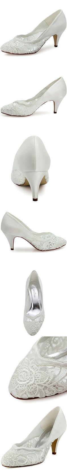 ElegantPark Women s Closed Toe Cone Heel Wave Edge Cutting Lace Evening Prom  Bridal Wedding Pumps Ivory US 6 86ec832862b2