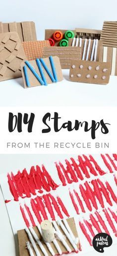 Make your own DIY stamps with various textures using cardboard and other materials from the recycling bin. Then print your new stamp! Be sure to try the bonus collage activity for kids! #kidsart #kidsactivities #artsandcrafts#kidscrafts #printmaking
