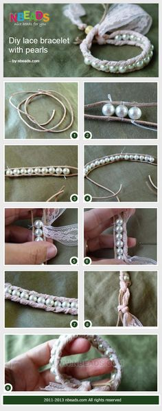 diy lace bracelet with pearls