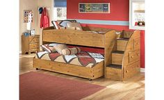 Stages Loft Bedroom Set - many options for this loft bed. We have it on our floor currently, with drawers, and shelves under it, rather than the trundle bed. -by Ashley Furniture- Custom Bunk Beds, Modern Bunk Beds, Cool Bunk Beds, Kids Bunk Beds, Modern Bedding, Kids Bedroom Sets, Kids Bedroom Furniture, Bedroom Ideas, Kids Rooms