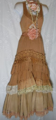Boho prairie  dress  beige tea stained   tiered by vintageopulence, $160.00