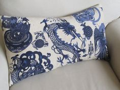 BLUE  DRAGONS  Large Sofa/Bed Pillow Cover 14x26 three by yiayias, $60.00