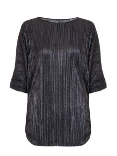 Black Metallic Pleated Ruched Batwing Top