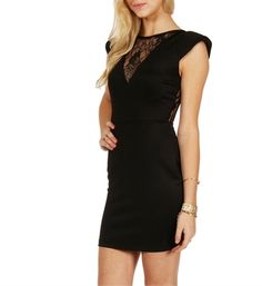Black Bold Shoulder Scuba Dress