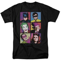Batman T-Shirt TV Pop Cast on Black. Available in regular, youth, long sleeve, women's and juniors style. Printed on durable 100% cotton. Due to licensing restrictions, product can only be sold and sh