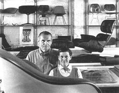 Charles and Ray Eames in their office space surrounded by models of their designs. Photo credit: Eames Office LLC
