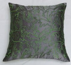 silver gray and green silk pillow cover with Moroccan inspired embroidery IN STOCK