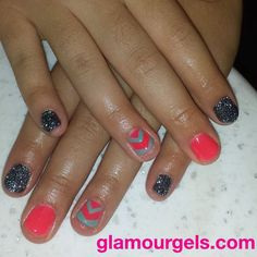 """It's not too late for neons! Paired with the darker glitter """"Twilight,"""" this combination is just in time for Fall. www.glamourgels.com"""