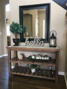 Small Entryway and Foyer Decorating Ideas On a Budget – Foyer decorating inspiration and entryway decor ideas! Let's take a look at some small entryway ideas for the foyer in … Hallway Table Decor, Decoration Table, Entryway Decor, Front Entry Decor, Entryway Ideas, Rustic Entry Table, Foyer Tables, Narrow Entryway, Apartment Entryway