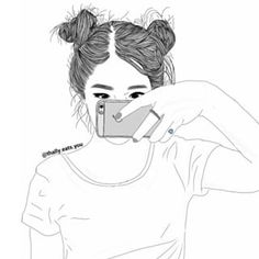 2015 draw art girl outlines swegg  bored iphone messy buns ring