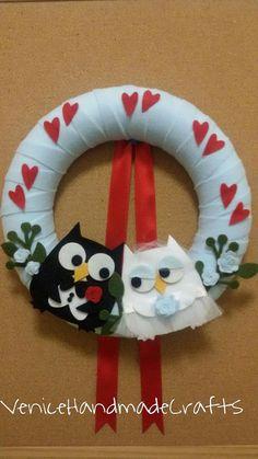 wedding wreath wedding felt wreath wedding by VeniceHandmadeCrafts