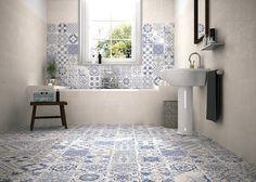 PATCHWORK TONOS AZULES: Baños de estilo moderno de Gama Ceramica y Baño